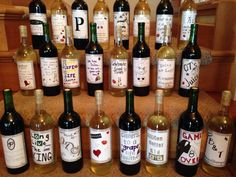 Bridal shower activity idea. Every guest designs a unique wine label for the couple. They get to enjoy the creativity of their guests every time they uncork a new bottle.