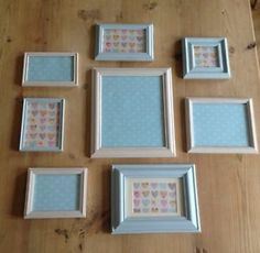 8 Shabby Chic Vintage Photo Picture Frames Duck Egg Blue Cream Ivory Wall
