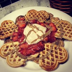 IT'S HERE!! Chocolate Covered Strawberry Protein Waffles!! Recipe up on the BLOG! Check it out! Equippingstrength.com
