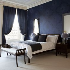 Navy bedroom | Dramatic bedroom designs | Image | housetohome