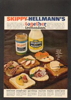 Old ad from the 70s (my guess).  These sandwiches are horrifying - Peanut butter and MAYONNAISE????