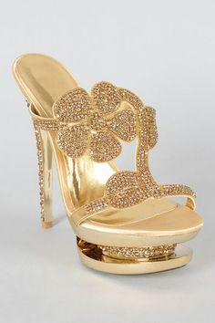 Sandália Importada Strass Flor Dourada - Nina Belly Acessórios Femininos Importados