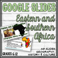 This 40 slide Google Slide Show provides a nice overview of Eastern and Southern Africa's History, Geography, and Culture. Videos, activities, comprehension checks, and many images are included in this slideshow.Some of the topics included in this slideshow:the Ethiopian HighlandsLake VictoriaGreat ...