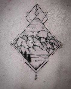 Lyon- France geometric mountain tattoo #geometrictattoo #mountaintattoo #blackwork #vuoritatuointi…