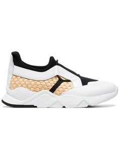 72e351a29a87 Robert Clergerie White and black Salvy Leather and Straw Sneakers Zurich