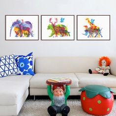 Triptych Watercolor Animals Silhouette Deer Giraffe Elephant Art Print Poster Home Wall Picture Decor Canvas Painting No Frame Kids Room Paint, Kids Room Wall Art, Wall Art Decor, Wall Art Prints, Wall Art Pictures, Canvas Pictures, Poster Wall, Poster Prints, Elephant Art