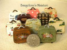 miniature vintage luggage