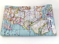 world map fabric  craft supply  yardage  map fabric  by chezlele, $17.50