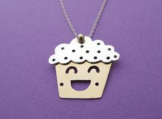 Cuppington the Cupcake Necklace - Metal Sugar Jewelry #handmadejewelry
