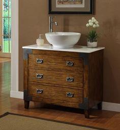 """36"""" Asian style Akira Vessel Sink Bathroom Vanity - CF35535 - Chans Furniture - 1"""