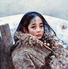 Tibet Girl paintings by Chinese artist Ai Xuan
