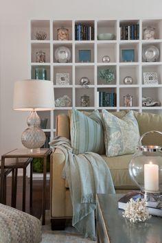 Port Royal Living Room with Bookcase designed by Lisa Kahn, Kahn Design Group
