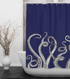 navy octopus tentacle shower curtain