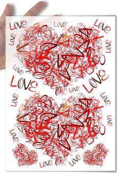 Decoupage Paper • love hearts valentine's day valentine wedding • for mod podge decopatch scrapbooking
