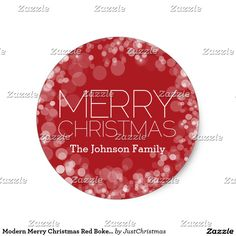 Modern Merry Christmas Red Bokeh Personalized