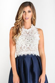 625ce43538 Leighton White Sleeveless Lace Top. White Lace Crop ...