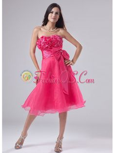 Sweetheart A-Line Organza Knee-length Hand Made Flowers Prom Dress Hot Pink- $148.69  http://www.fashionos.com   prom dress for 2013 | 2014 fashionable prom dress | graduation prom dress | proms dresses 2013 |