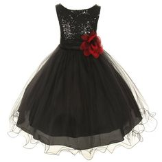 Kids Dream Black Sequin Double Mesh Flower Dress Baby Girls 12M * You can get additional details at the image link.