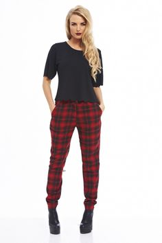 f74948c9602 AX Paris Women s Checked Printed Red Pants(Red