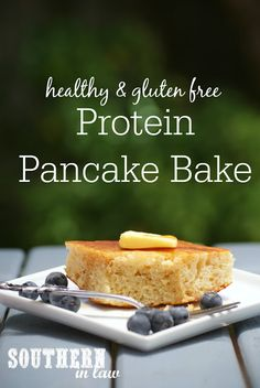Make this Healthy Protein Pancake Bake Recipe in advance for a quick and delicious gluten free breakfast that is also low fat, high protein and refined sugar free!