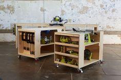 Ideas Power Tool Storage Diy Ana White For 2019 Workbench With Storage, Rolling Workbench, Workbench Organization, Workbench Top, Garage Storage Cabinets, Workbench Plans, Woodworking Workbench, Woodworking Shop, Kitchen Storage