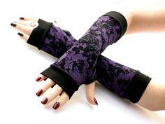 Winter Garden Arm Warmers,Fingerless Gloves  - Very Soft Purple Gloves , Hand Warmers , Cuffs , Victoriian , Goth , Cotton. $19.50, via Etsy.