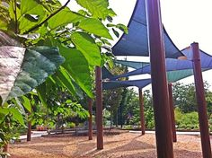 The sun shade sails in the Children's Garden