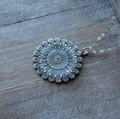 Mandala fine silver pendant sterling silver necklace by ALMrozarka on Etsy Silver Pendants, Sterling Silver Necklaces, Silver Jewelry, Silver Charms, Jewelry Accessories, Jewelry Bracelets, Jewellery, Pure Products, Diamond