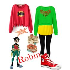 Robin - Teen Titans by roishey on Polyvore featuring Topshop, Juicy Couture, Lipsy, Converse and Armani Exchange
