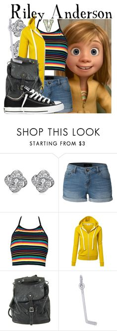 """""""Riley Anderson (Inside Out)"""" by fabfandoms ❤ liked on Polyvore featuring LE3NO, Handle, Rembrandt Charms and Converse"""