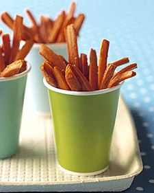 Carrot fries: 2 lbs. carrot sticks tossed in 2 tsp. olive oil; put on parchment paper lined cookie sheet; sprinkle with 1 tsp. salt, bake at 400 degrees F for 20-25 minutes.  They're awesome!
