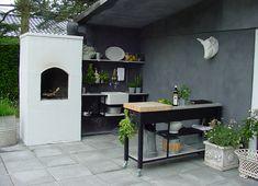 Billedresultat for udekøkken Outdoor Lounge, Outdoor Living, Outdoor Decor, Outdoor Kitchen Grill, Outdoor Kitchens, Hygge, Bbq Area, Deck With Pergola, Kitchen Shelves