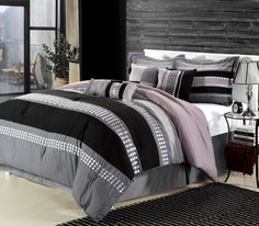 Detail Embroidery highlight the true essence of look you are trying to achieve in elegant home decor. #LuxBed #ChicHome #Plum #Grey #Black #Bedding #Comforter