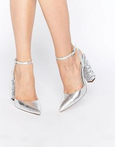 Туфли на высоком каблуке с острым носком и декоративной отделкой ASOS PLAYGROUND