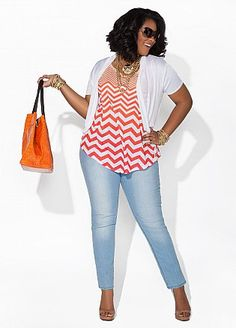 Ashley Stewart. skinny jeans and striped top. it´s a outfit to go to mall