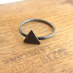 Triangle ring oxidized black sterling silver minimalist by lunahoo