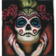 Sugar Skull Art, Signed Skull Print, Dia De Los Muertos Decor, Day of... ($50) ❤ liked on Polyvore featuring home, home decor, wall art, dia de los muertos paintings, skull wall art, skull home decor, tattoo wall art and skull painting