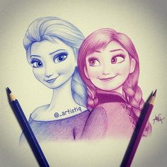 Elsa and Anna drawing by @_artistiq