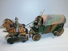 alter Militär Holz Planwagen mit 2 Elastolin Massepferden u. 2 Soldaten zu 7.5cm | eBay