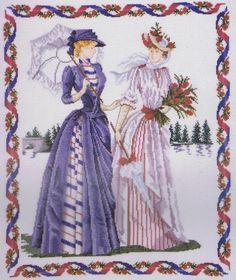 """Afternoon Stroll (Victorian Ladies) Cross Stitch Kit - DMC - 14"""" x 17"""" (K4493)"""