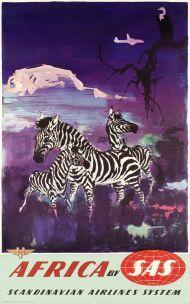 Vintage SAS Scandinavian Airlines Flights to Africa Giraffe Poster  A3 Print