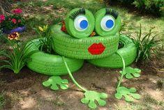 Spielgeräte Garten Frosch Pflanztopf alte Reifen Upcycling