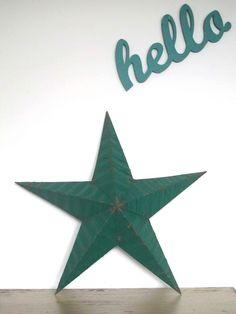 """Estrella """"Amish"""" verde original de Pensilvania de los aos 60 en metal galvanizado seal de buena..."""