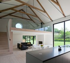 Ceiling Rafters Contemporary Living Room by JAMIE FALLA ARCHITECTURE