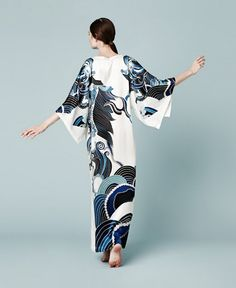 Meng AW14 luxury loungewear - Zodiac print silk satin gown - white