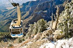 The tram from Tijeras National Park, NM, as seen from the peak of the Sandia Mountains.