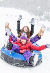 Snowtubing stock photo