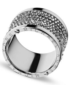 Michael Kors Ring, Silver Tone Pave Barrel Ring
