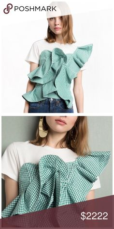 "Green Gingham Plaid Ruffle One Shoulder Top DA29 ‼️ PRICE FIRM ‼️ 10% DISCOUNT ON 2 OR MORE ITEMS FROM MY CLOSET ‼️   Gingham Shoulder Silky Blouse Retail $88 NEW WITH TAGS  LOVE IT!! Make a statement while looking fabulously trendy! 100% cotton. There is smocking in the back so there is plenty of stretch for a perfect & comfortable fit. Please check my closet for many more beautiful items.  XS/SMALL Bust 32""-36"""" Length 22""  SMALL/MEDIUM Bust 36""-39"" Length 22"" Tops"