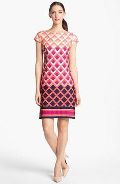 b34e7f91e66 Eliza J Print Cap Sleeve Jersey Shift Dress available at  Nordstrom Batik  Fashion